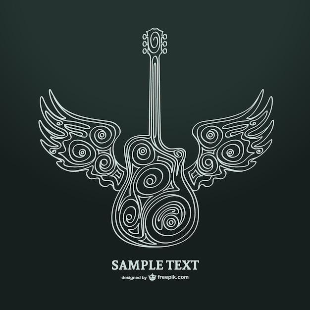 Illustrazione della chitarra arte vettoriale Vettore gratuito