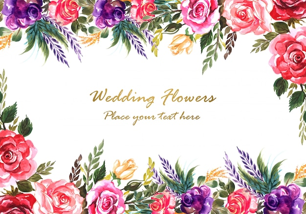 Ornamental hand draw colorful wedding flowers card template Free Vector