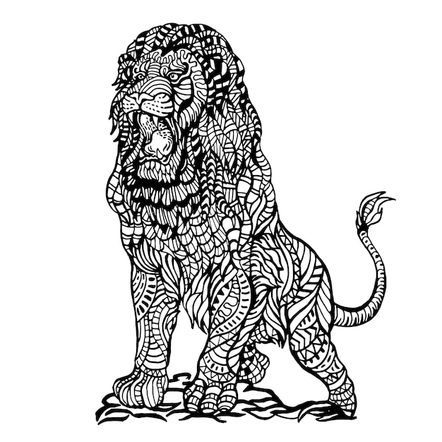 Ornamental hand drawn angry lion