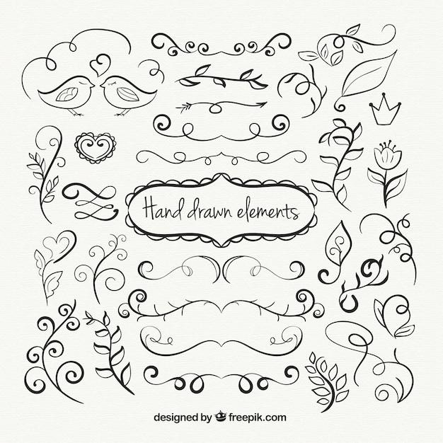 دست زینتی کشیده عناصر مجموعه