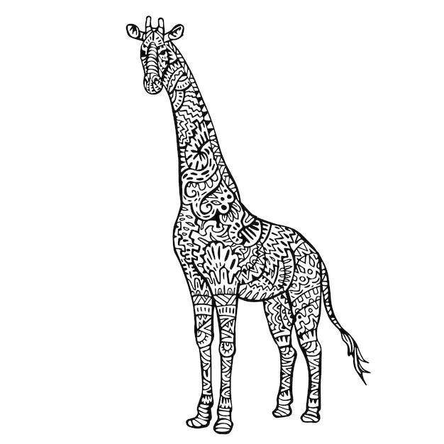 Ornamental Hand Drawn Giraffe Free Vector