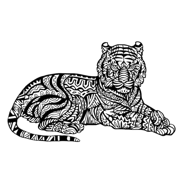 Ornamental Hand Drawn Tiger Vector Free Download