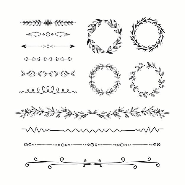 Декоративные рисованной типы рамы и разделителей Бесплатные векторы