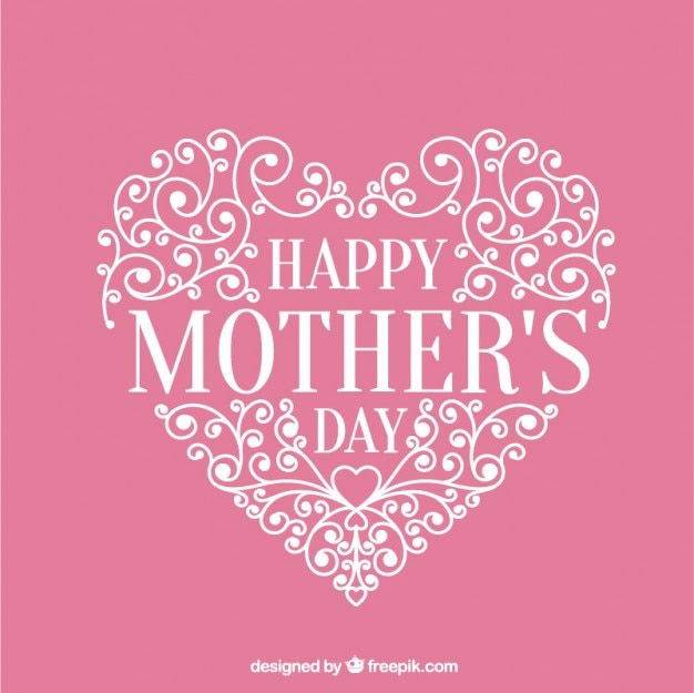 Ornamental heart pink card of mother's day Free Vector