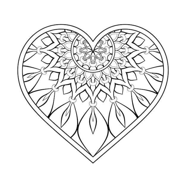 Ornamental heart with mandala vector free download - Mandala de coeur ...