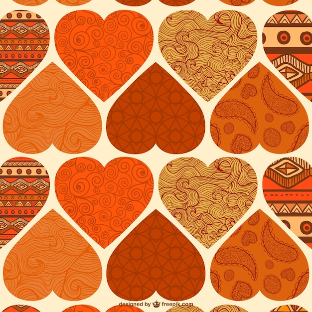 Ornamental hearts pattern Free Vector