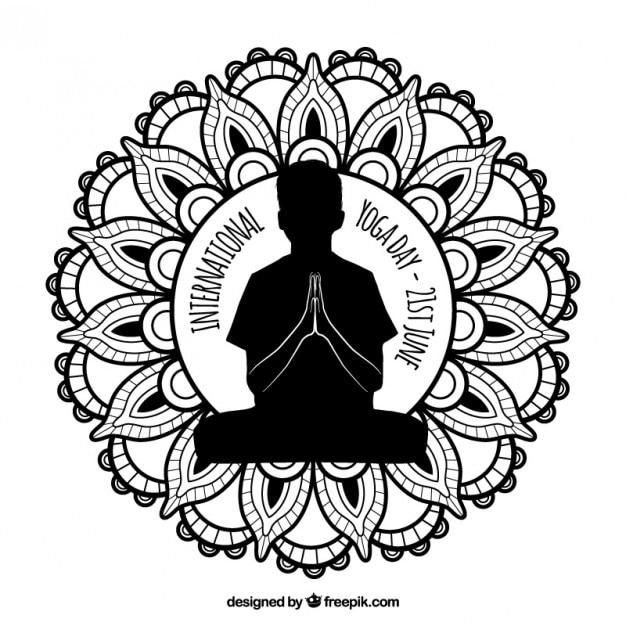Ornamental international yoga badge