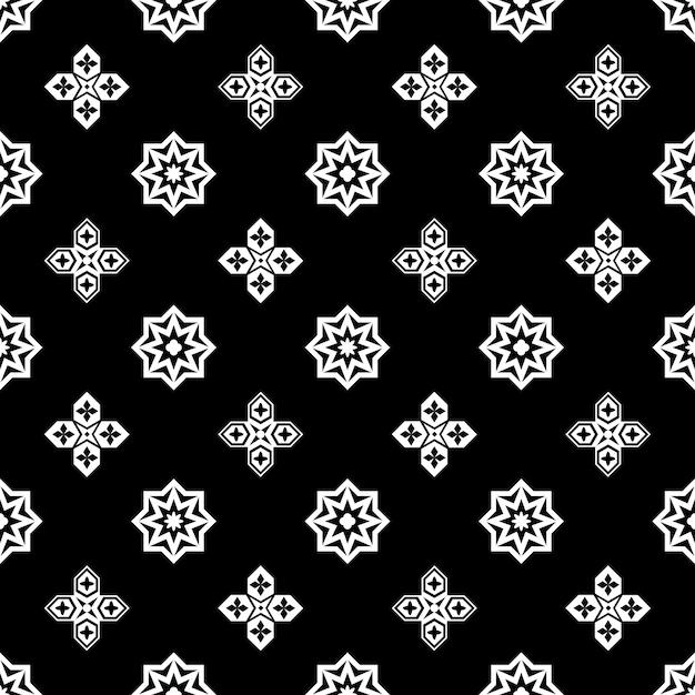 Исламский черный и белый орнамент бесшовные модели Бесплатные векторы