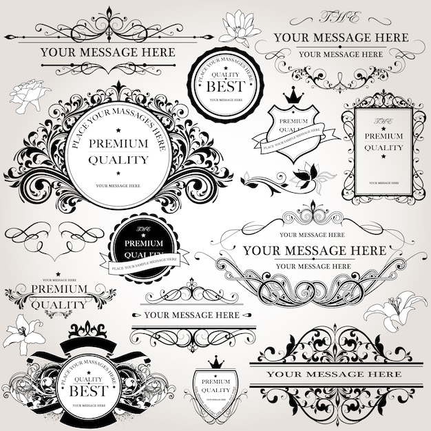 Ornamental logo collection Free Vector