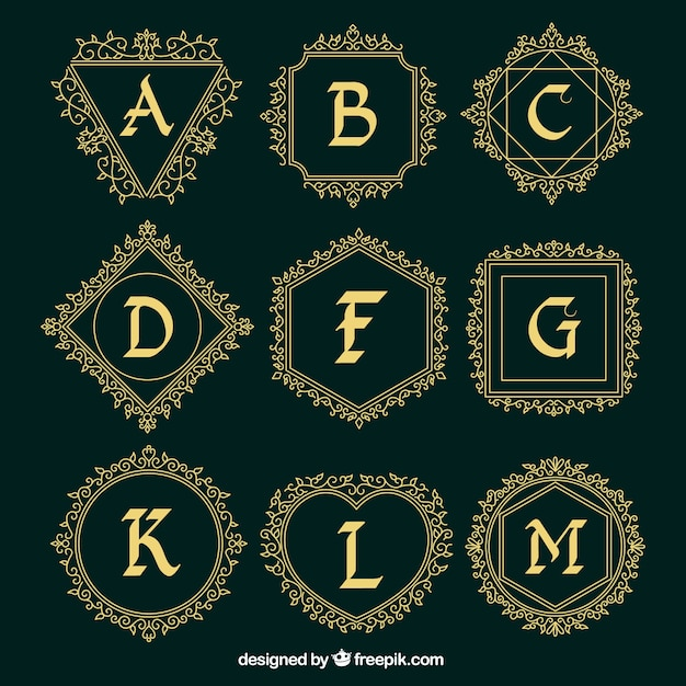 Ornamental logos collection of capital letters Free Vector