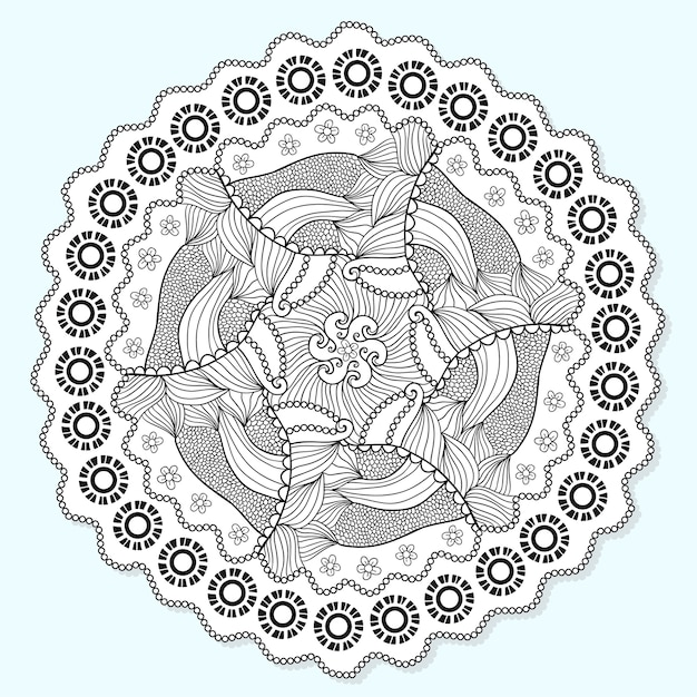 ornamental mandala circle lace ornament pattern vector for adult coloring page napkin design