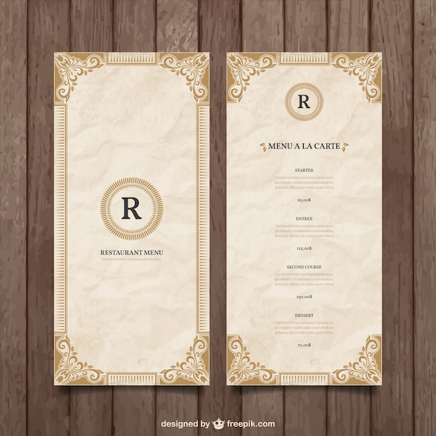 Ornamental Menu Template Free Vector