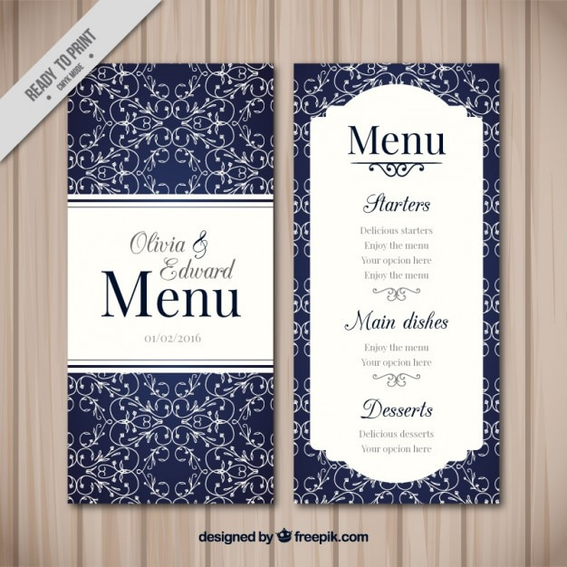 Ornamental menu for wedding Free Vector