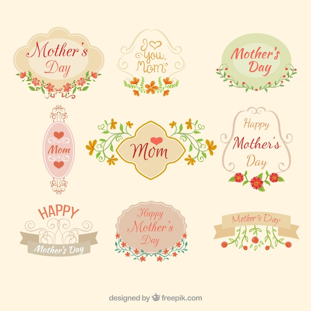 Ornamental mother\'s day labels