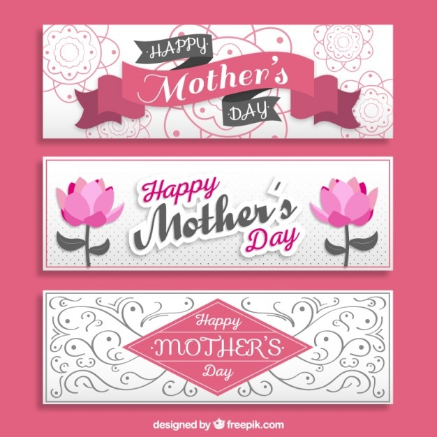 Ornamental Mothers S Day Banners Vector Free Download