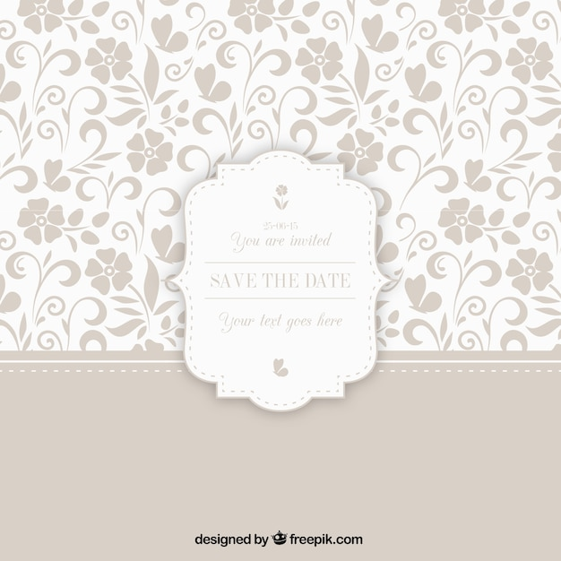 Ornamental pattern with wedding badge Premium Vector