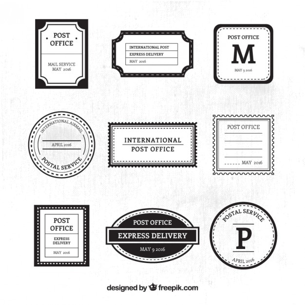 Ornamental post service black and white stamps
