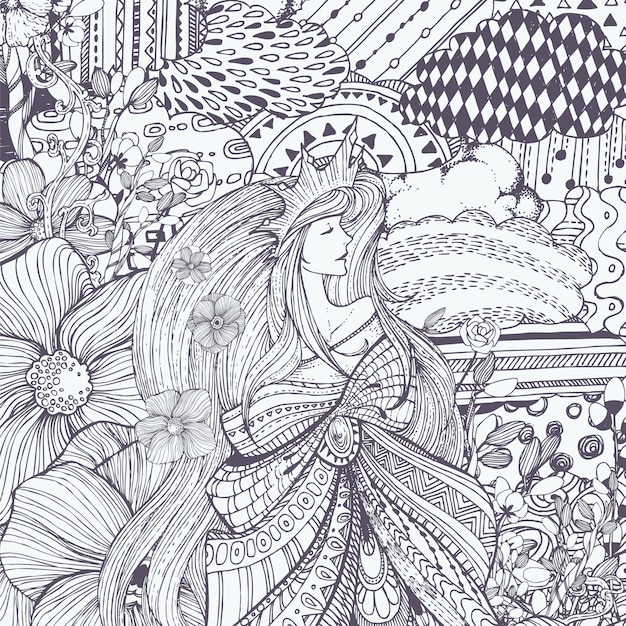 Ornamental queen illustration Free Vector
