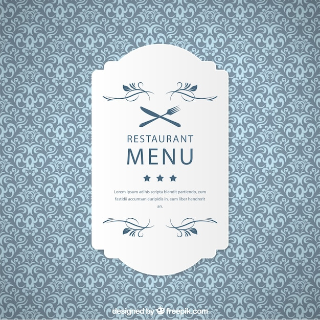 Ornamental restaurant pattern with label Free Vector
