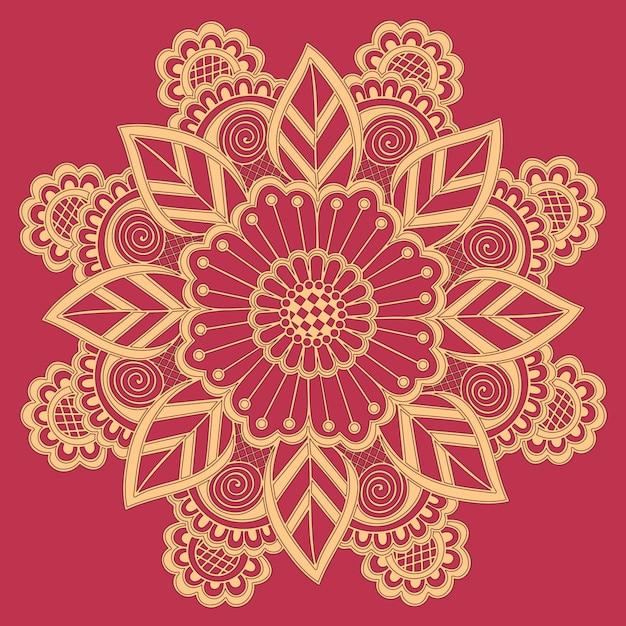 Декоративное круглое кружево с элементами дамасской и арабески. Бесплатные векторы