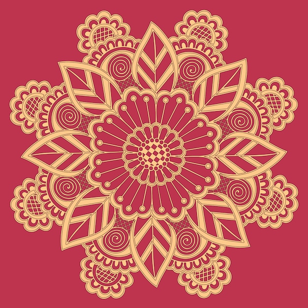 Ornamental round lace with damask and arabesque elements. Free Vector