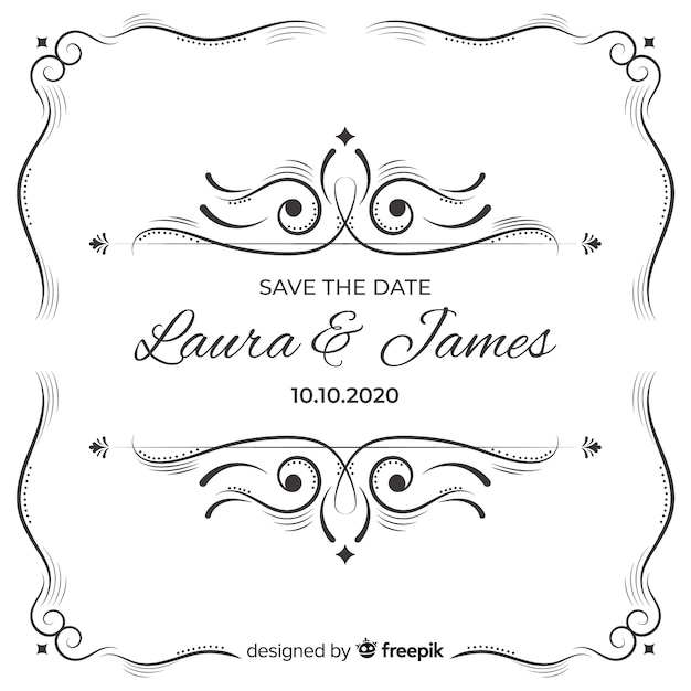 Ornamental save the date wedding invitatio Free Vector