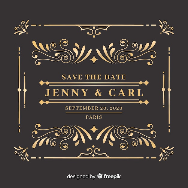 Ornamental save the date wedding invitation Free Vector