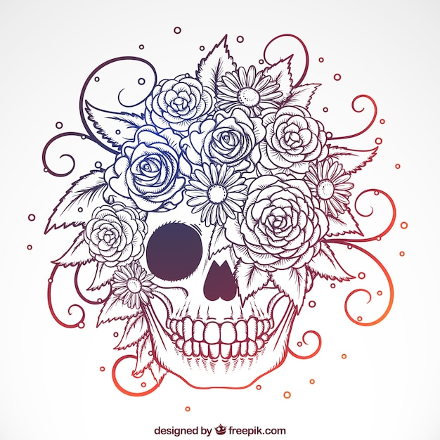 Ornamental skull with hand-drawn flowers Free Vector