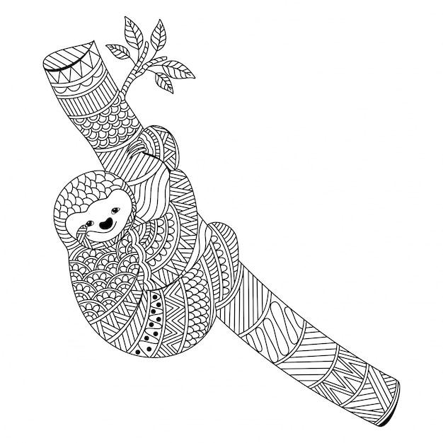 Ornamental sloth in boho style Premium Vector
