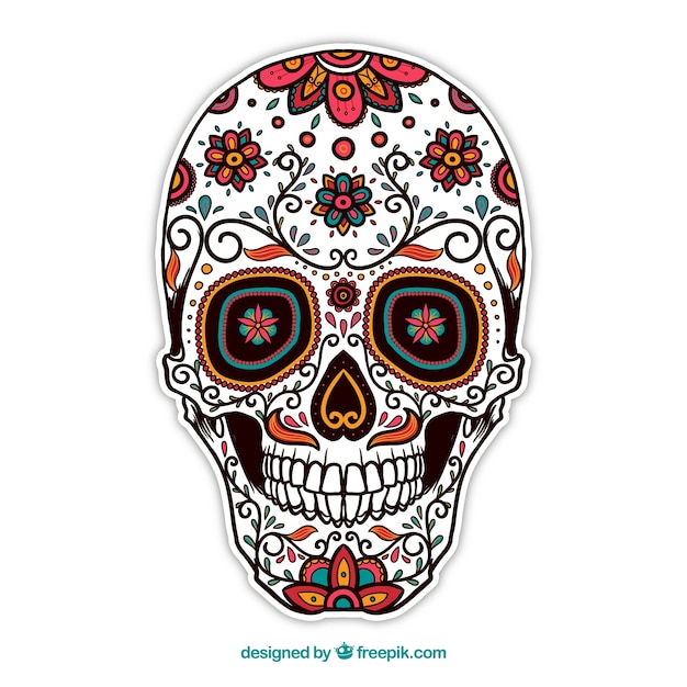 Ornamental sugar skull vector free download for Cara pintada diablo