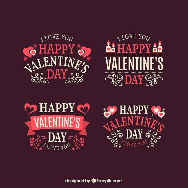Ornamental valentines day labels pack Premium Vector