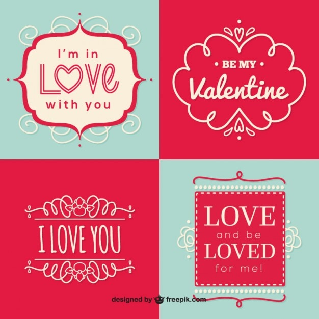 ornamental valentines day labels vector free download