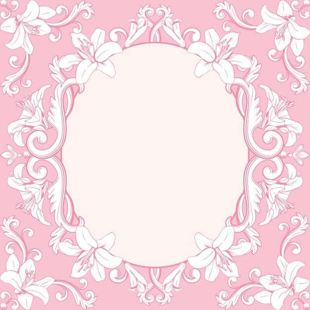 Ornamental vintage frame with lilies in pink Premium Vector