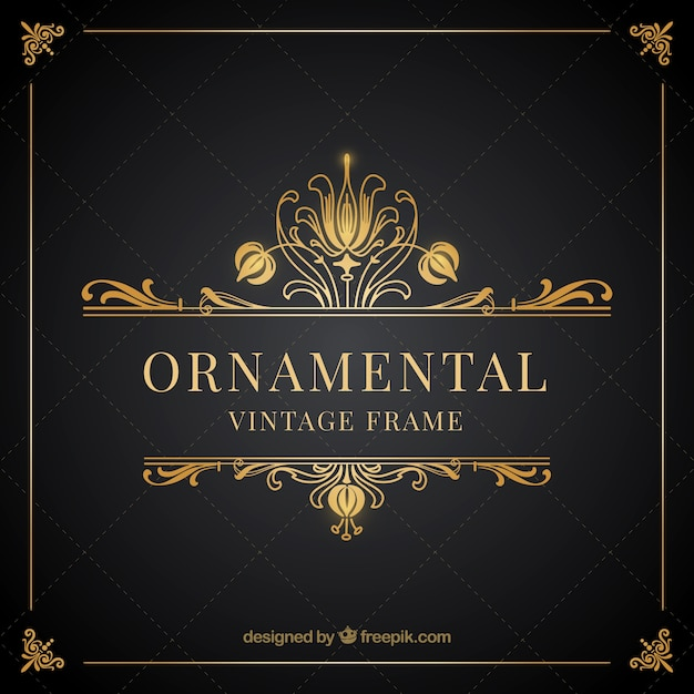 Ornamental vintage golden frame Free Vector