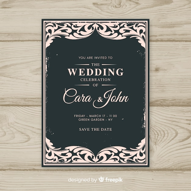 Ornamental vintage wedding invitation template Free Vector