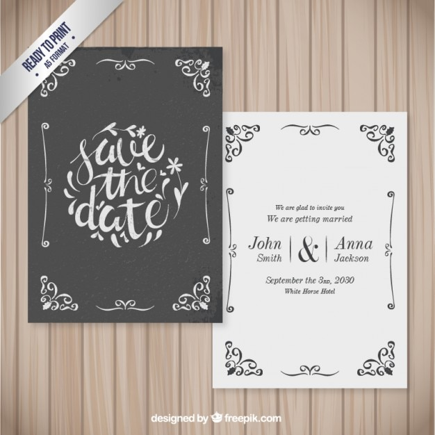 Ornamental wedding card in retro style Premium Vector