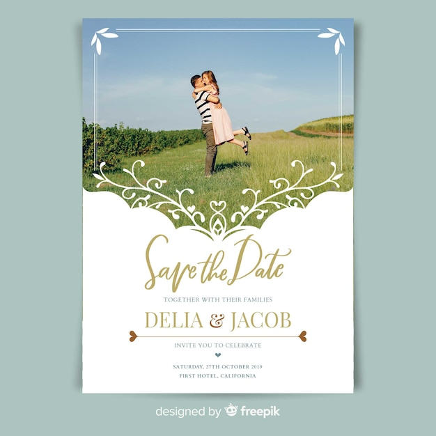Ornamental wedding card template with photo Free Vector