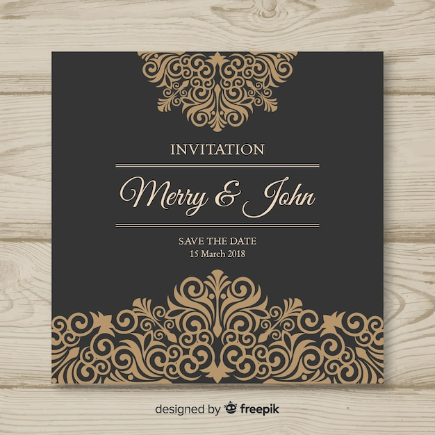 Ornamental wedding card template Free Vector