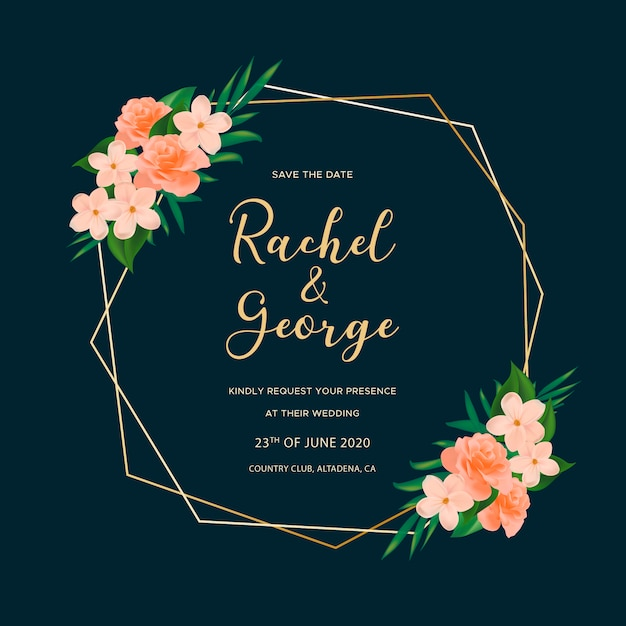 Ornamental wedding card with roses Free Vector