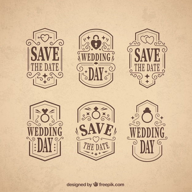 Ornamental wedding day badges in vintage style Vector | Free Download