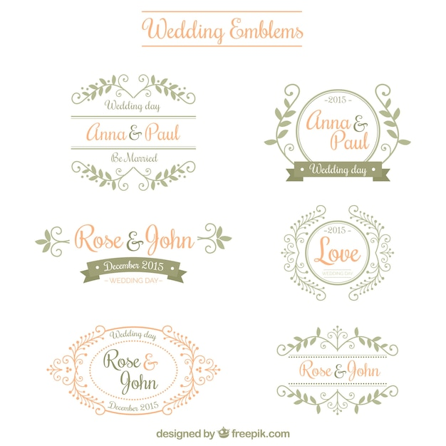 Ornamental Wedding Emblems Free Vector