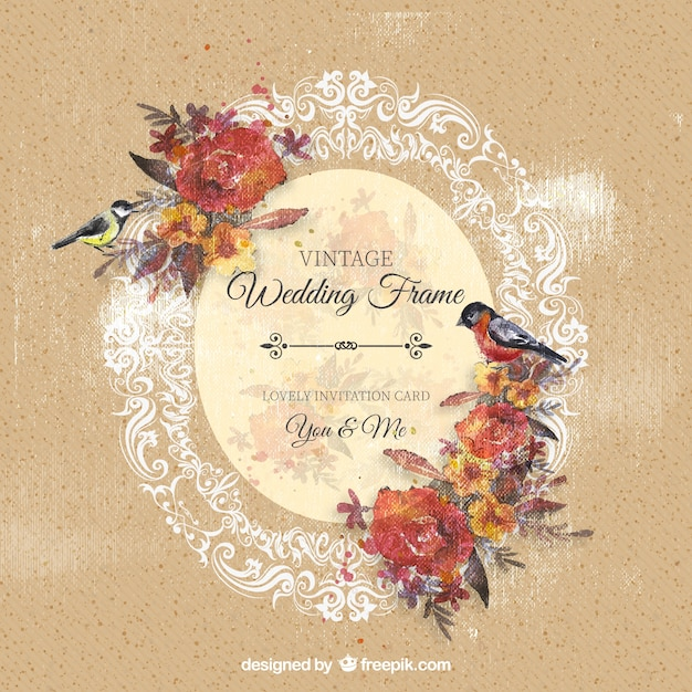 ornamental wedding frame with flowers and birds free vector