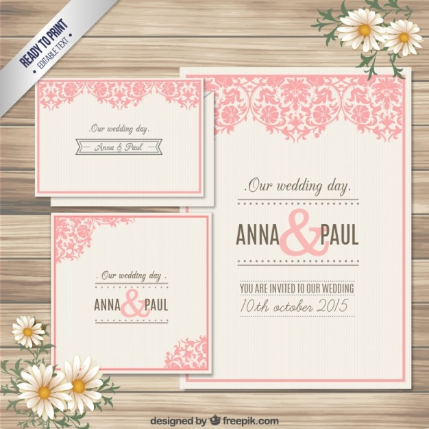 Ornamental Wedding Invitation Card Vector