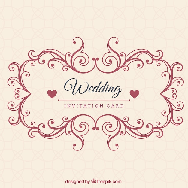 Ornamental Wedding Invitation Card Vector Premium Download