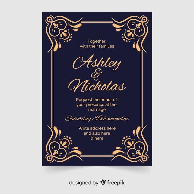 Ornamental wedding invitation in retro style Free Vector