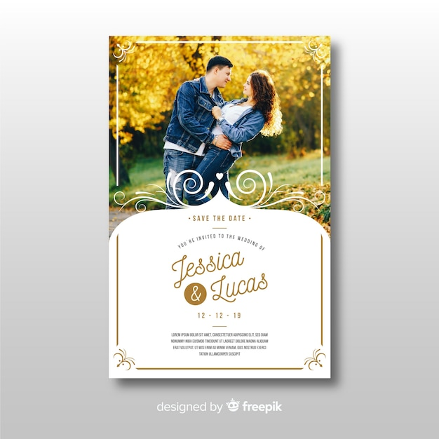 Ornamental wedding invitation template with photo Free Vector