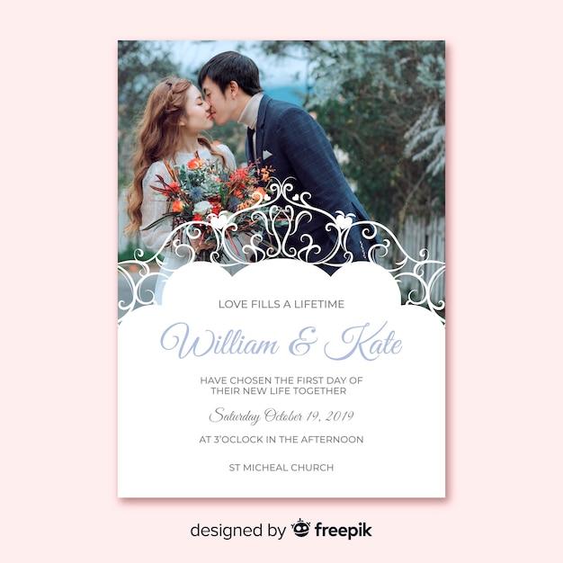 Ornamental wedding invitation template with photo Free Vector