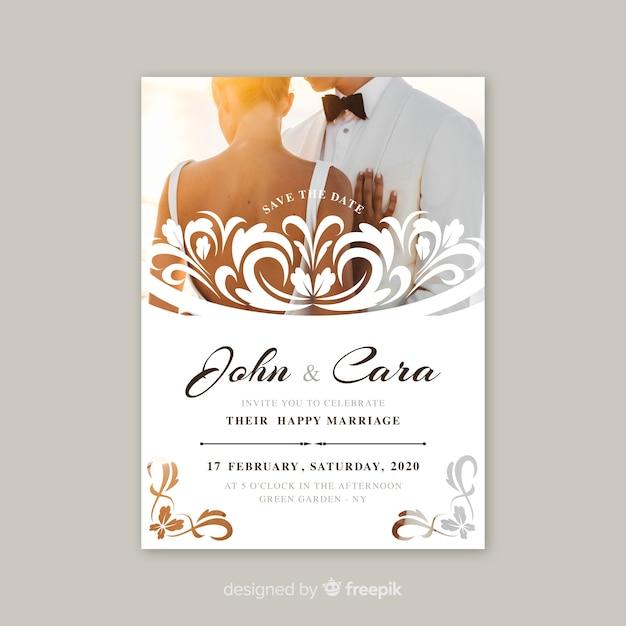 Ornamental wedding invitation with photo Free Vector