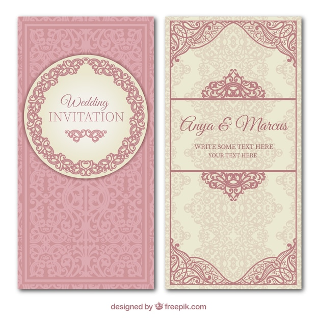 Ornamental wedding invitation Premium Vector