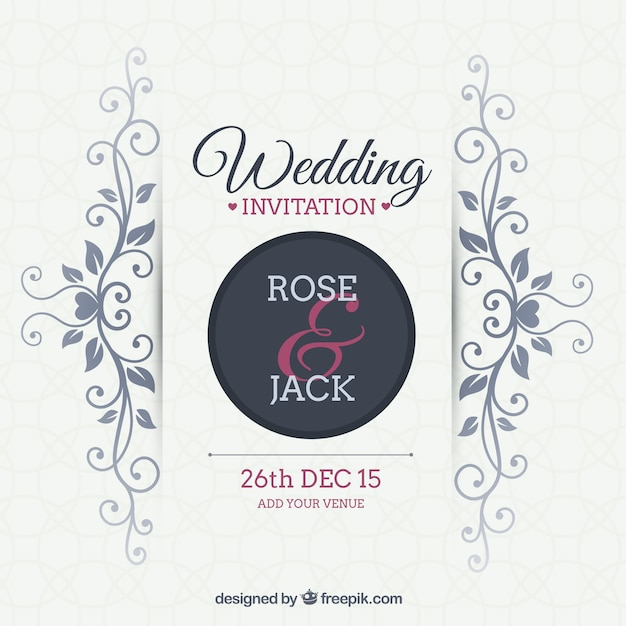 Ornamental Wedding Invitation Free Vector